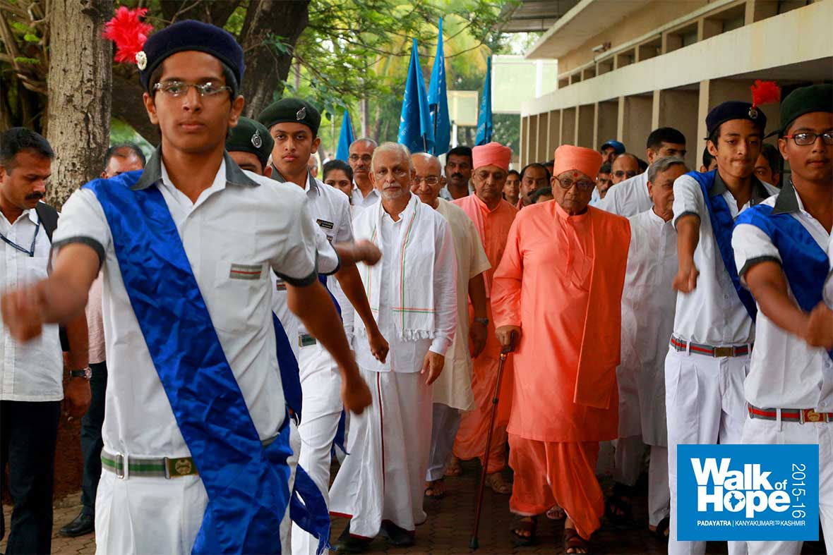 5.Between-smartly-marching-cadets,-we-were-welcomed-to-the-Vallabh-Ashram-School,-Pardi,-Valsad,-Gujarat
